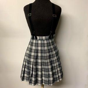 90s Plaid High Waist Pleated Skirt w/ Suspenders
